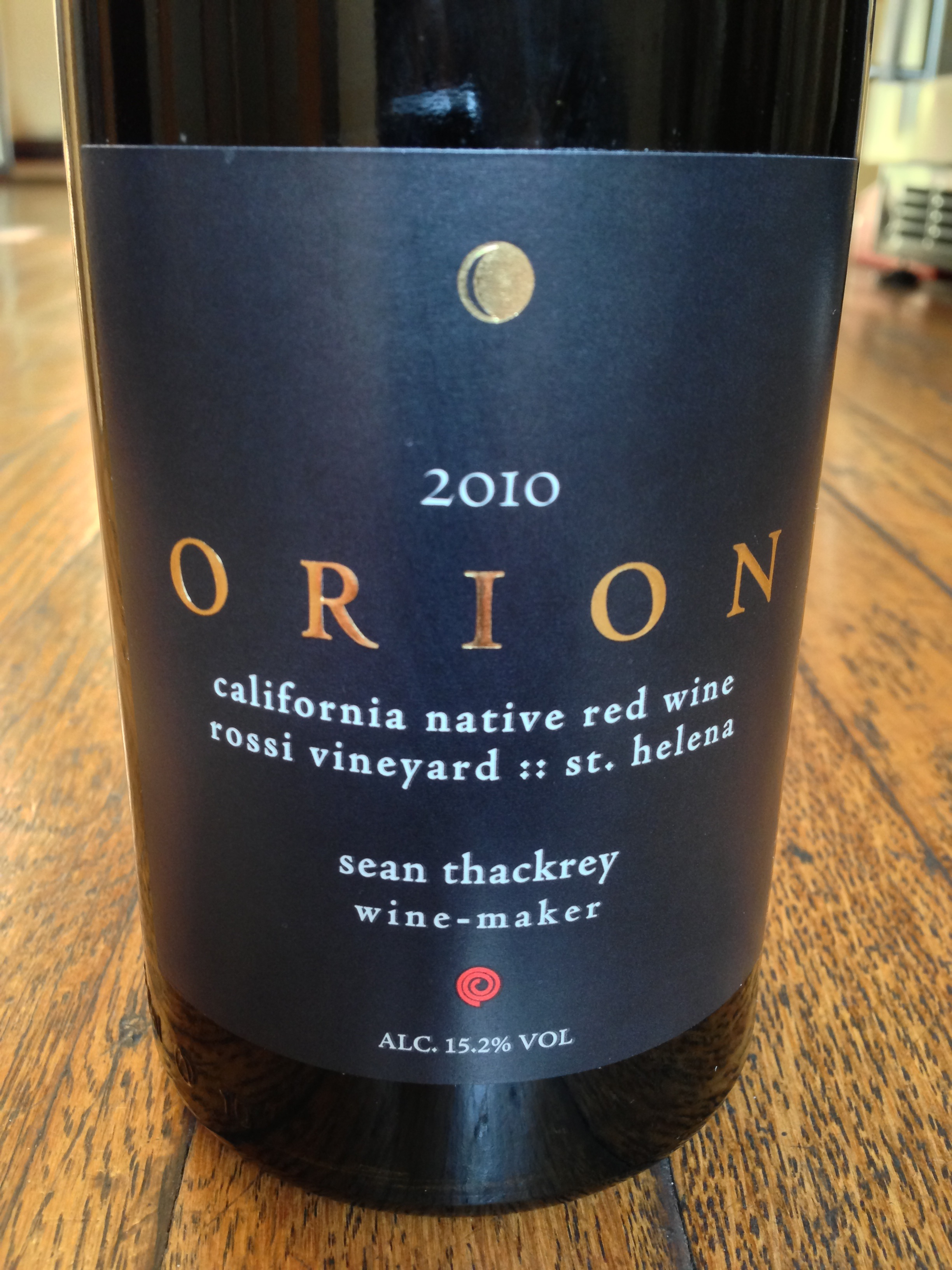 Sean Thackrey Orion 2010 California Native Wine Rossi Vineyard St Helena